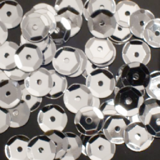 8mm Metallic Silver Semi-cupped Sequins x 20g